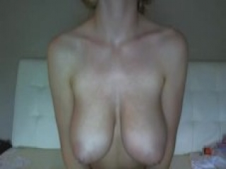 Babe with huge natural boobs masturbates on webcam